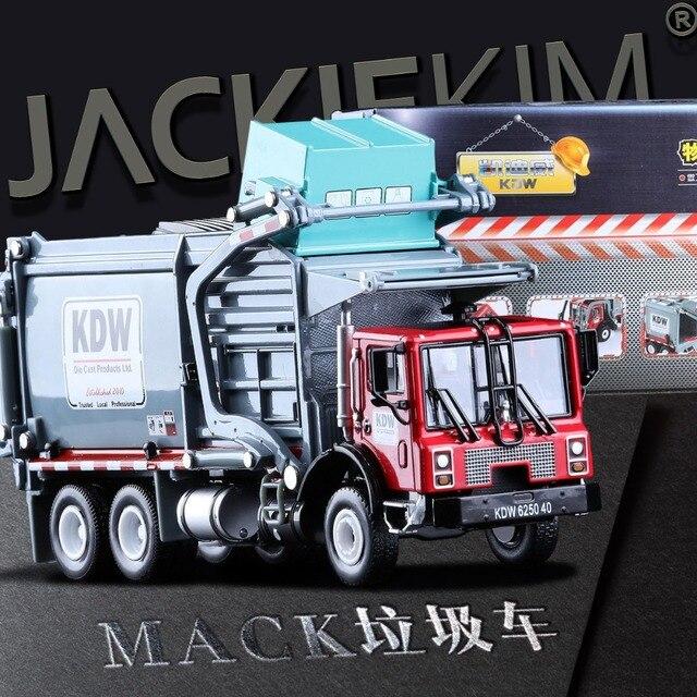1:24 Truk Sampah Sanitasi Truk Bersih Mobil Mainan Paduan Bahan Penanganan Truk Sampah Cleaning Model Kendaraan untuk Anak-anak Hadiah
