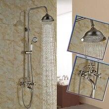 Никель матовый в стену Ванная комната открытый набор для душа кран Две ручки 8 «Осадки Для ванной и душа смесители с handshower