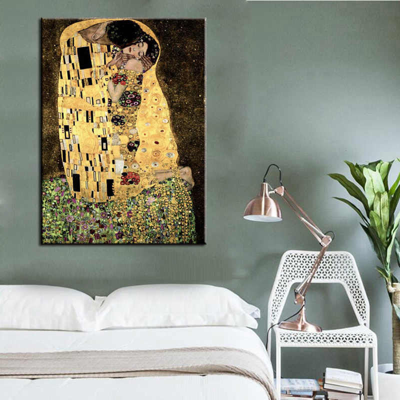 Famous Figure Painting, Gustav Klimt Kiss Canvas Paintings Print on Canvas, Wall Art Picture For Living Room Home Decoration