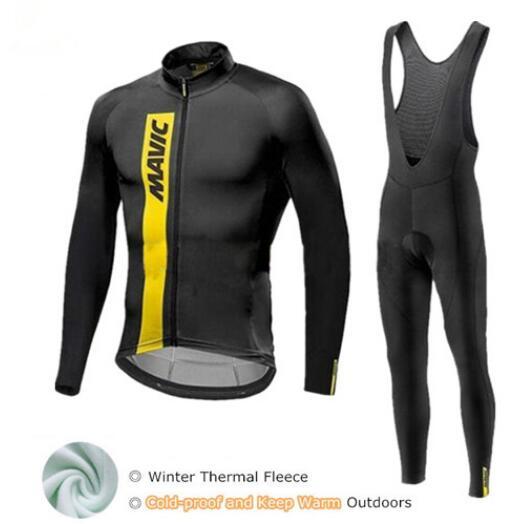 Conjunto De Ciclismo De Invierno Mavic ropa De Ciclismo De vellón térmico equipo Pro bicicleta De descenso Jersey Skinsuit MTB ropa De Ciclismo