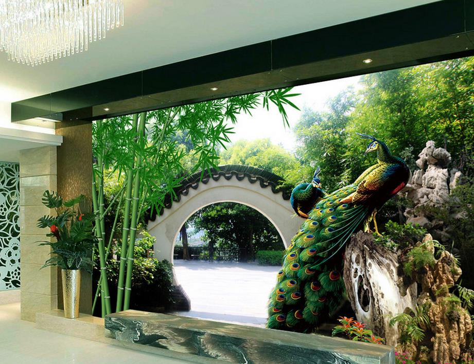 Online buy wholesale garden wall murals from china garden for 3d wallpaper home decor malaysia