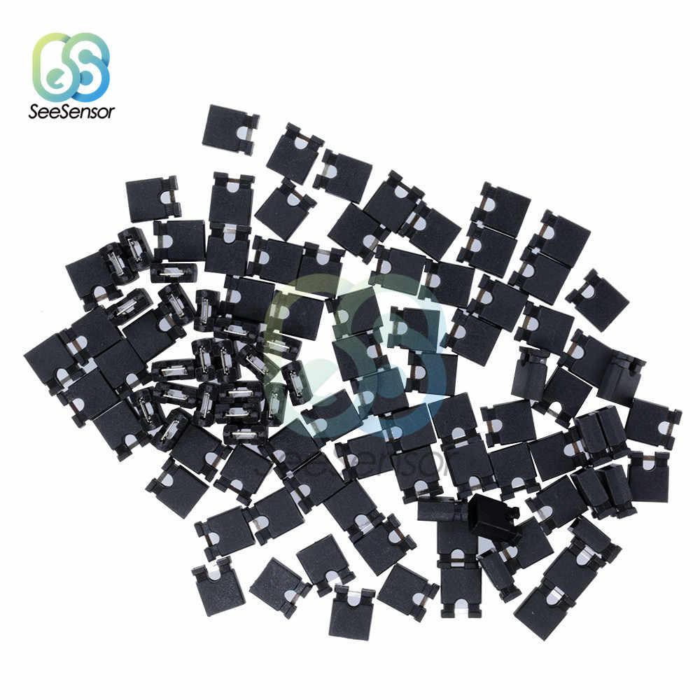 100 pièces broche en-tête Jumper blocs connecteur cavalier capuchon fil boîtiers 2.54mm pour disques durs Circuit imprimé ordinateur Interface carte