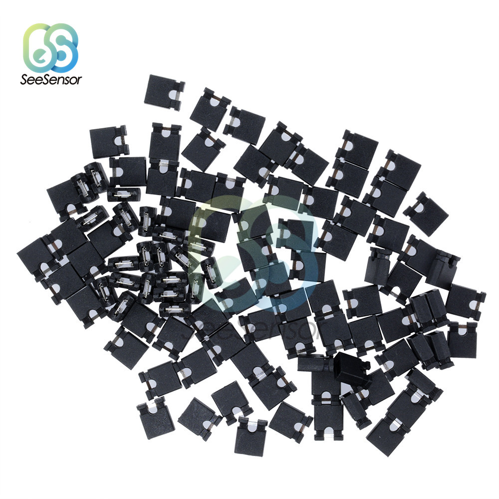 100pcs Pin Header Jumper Blocks Connector Jumper Cap Wire Housings 2.54mm For Hard Drives Circuit Board Computer Interface Card