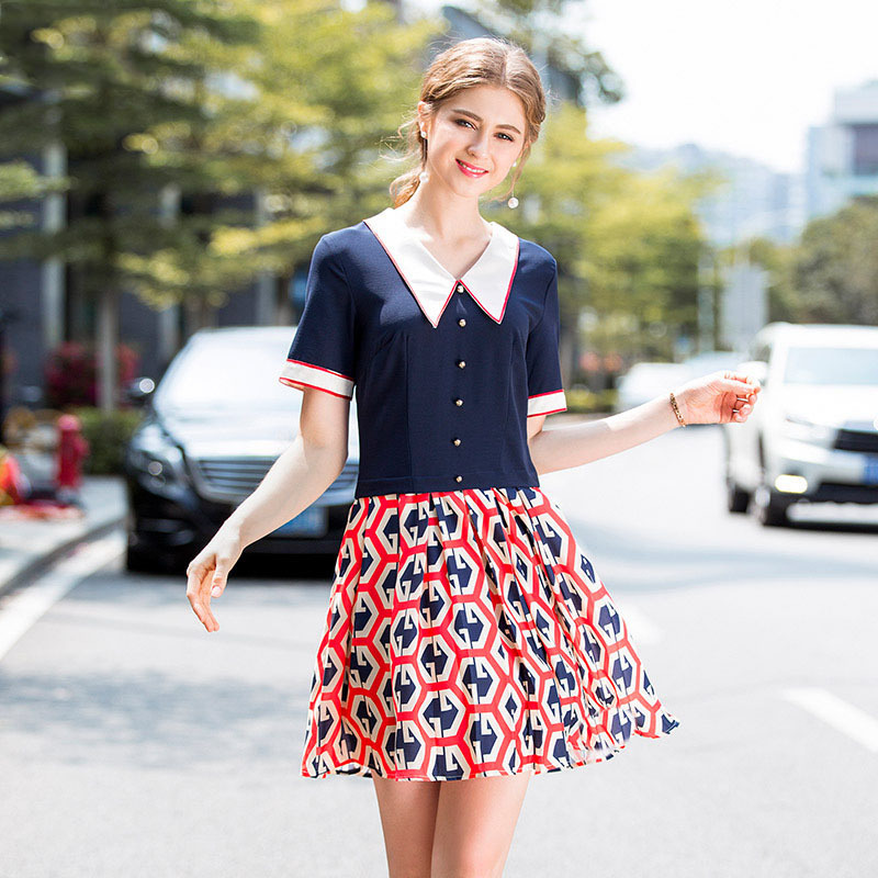 2018 Summer New Pattern Suit-dress Hit Color Printing Bouffancy Short Sleeve Lapel Dress