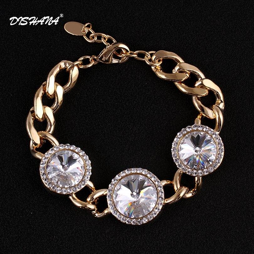 76da1cb85ed2 Moda de oro de color brazalete de cristal pulseras para las mujeres de lujo  marca de alta calidad Bijoux pulseras brazalete de joyería Womenss0017