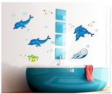 Big sea fish delphis luminescence wall sticker decals fluorescent ocean vinyl wallpaper stickers kids  bathroom shower decor