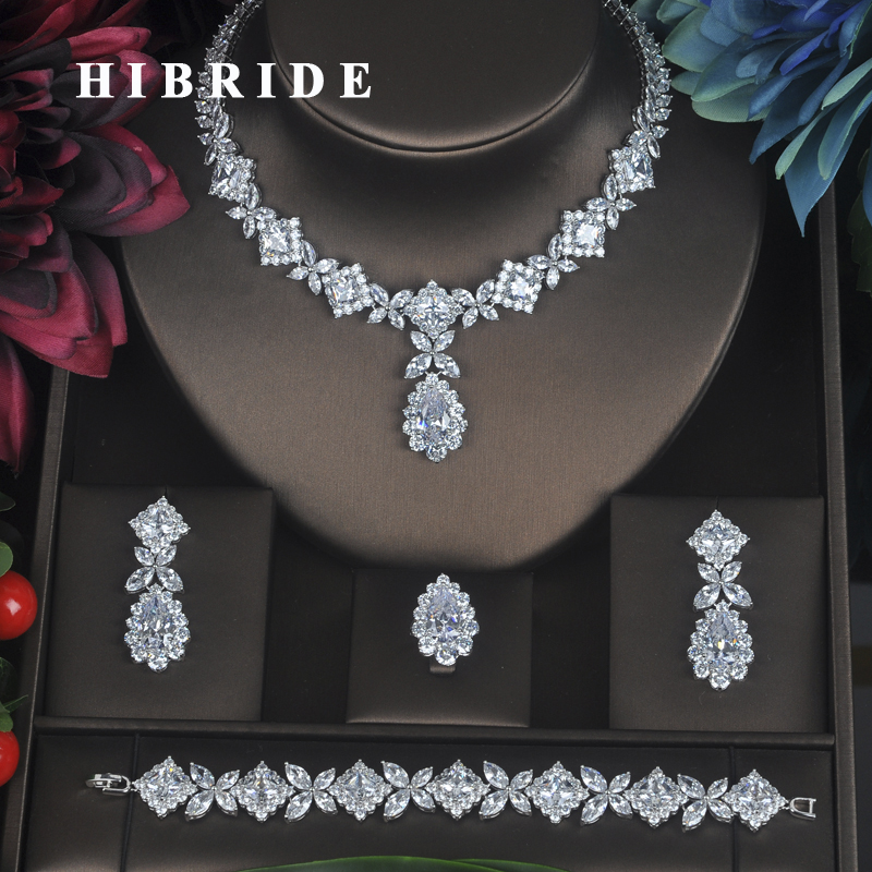 HIBRIDE Clear Crystal Cubic Zirconia Jewelry Sets For Women Bridal Wedding Sets 4 pcs Earring Necklace Ring Bracelet Gift N-315 new women s gift true really earring bracelet necklace ring mnjh
