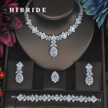 HIBRIDE Clear Crystal Cubic Zirconia Jewelry Sets For Women Bridal Wedding Sets 4 pcs Earring Necklace Ring Bracelet Gift N 315