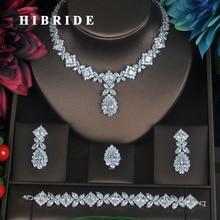HIBRIDE Clear Crystal Zirconia Sieraden Sets Voor Vrouwen Bridal Wedding Sets 4 pcs Earring Ketting Ring Armband Gift N 315