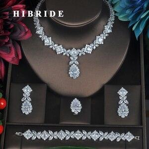Image 1 - HIBRIDE Klar Kristall Zirkonia Schmuck Sets Für Frauen Braut Hochzeit Sets 4 stücke Ohrring Halskette Ring Armband Geschenk N 315