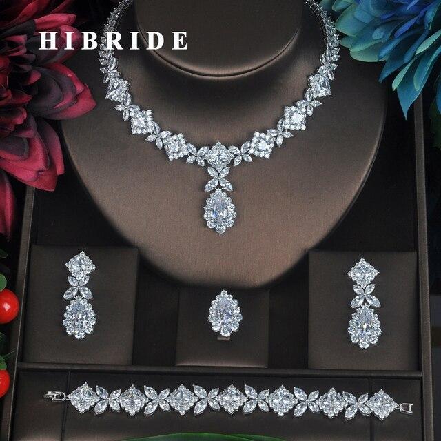 HIBRIDE Klar Kristall Zirkonia Schmuck Sets Für Frauen Braut Hochzeit Sets 4 stücke Ohrring Halskette Ring Armband Geschenk N 315