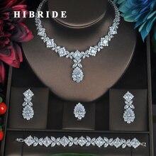 HIBRIDE ברור קריסטל מעוקב Zirconia נשים כלה חתונת סטי 4 pcs עגיל שרשרת טבעת צמיד מתנה N 315