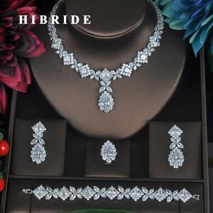 Image 1 - HIBRIDE ברור קריסטל מעוקב Zirconia נשים כלה חתונת סטי 4 pcs עגיל שרשרת טבעת צמיד מתנה N 315