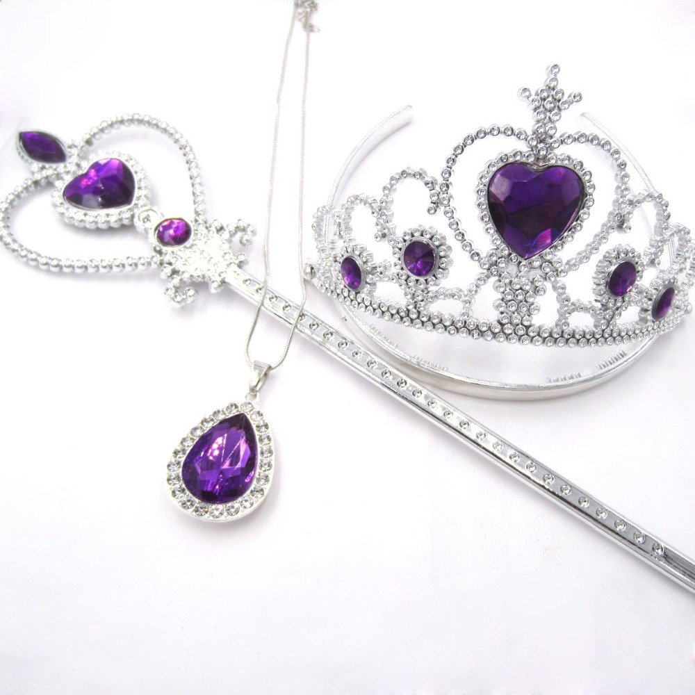 3pcs/set Toddler Girls Birthday Gifts Sofia The First Purple Teardrop Amulet Pendant Chain Necklaces Sofia Crown Magic Wand Sets цена