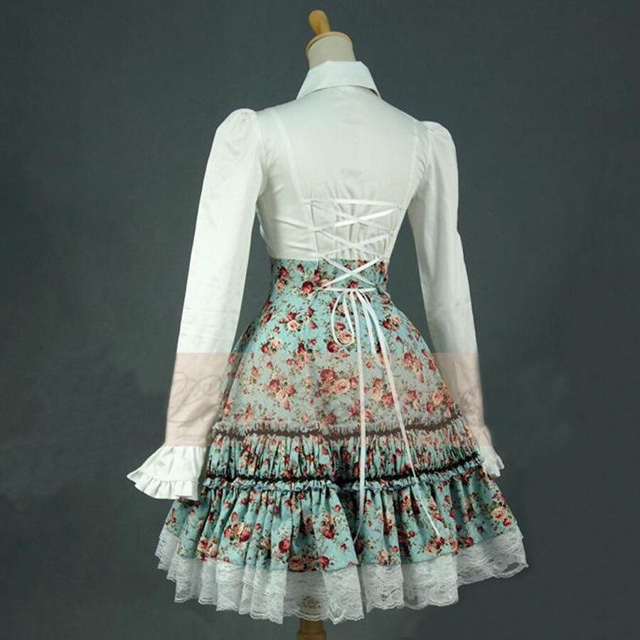Neue frauen sommer hemd kleid vintage lolita kleid damen Floral spitze bandage Gefaltete kleid Peter Pan kostüme zweiteilige outfits-in Kleider aus Damenbekleidung bei  Gruppe 3