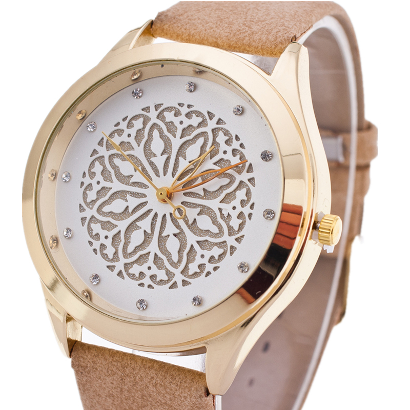 BGG watch hollow out flower dial ladies Casual Watch fashion Rhinestone Women Dress Watch Leather Quartz