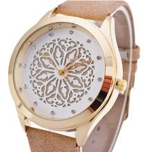 BGG reloj ahueca hacia fuera la flor dial señoras Reloj Rhinestone de la manera Ocasional Vestido de Las Mujeres de Cuero Reloj de Cuarzo Reloj de pulsera de reloj horas