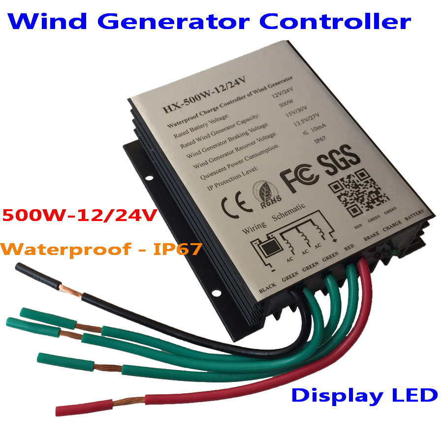 500W Wind Turbine Generator Controller 12V 24V wind turbine charge controller/Wind Generator Regulator new 600w wind controller regulator water proof 12v 24v auto for wind turbine wind solar streetlight battery charging