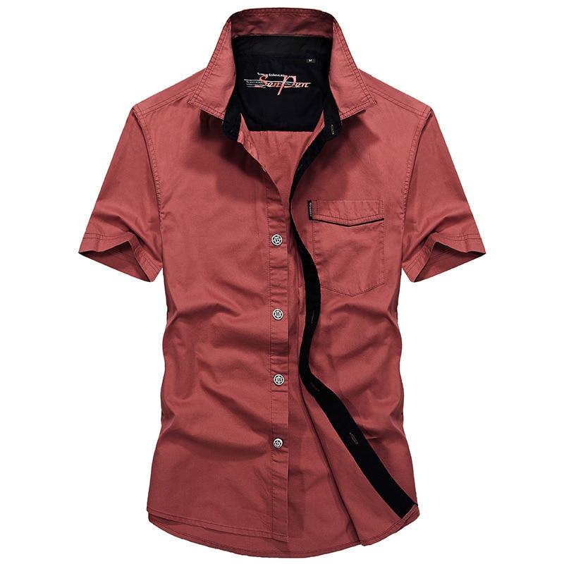 New Summer casual shirt men top quality cotton comfortable cargo shirt short sleeve military shirt men camisa social masculina