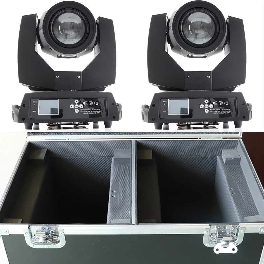 2pcs/lot with a dual flight case sharpy beam 230w 7r moving head light with colorful rainbow effect 2 prisms and powercon in out