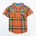 De los niños niño ropa 2016 de verano de manga corta a cuadros de dibujos animados boy t-shirt 2016 ropa nova ropa de niños bebé de alta superior desgaste