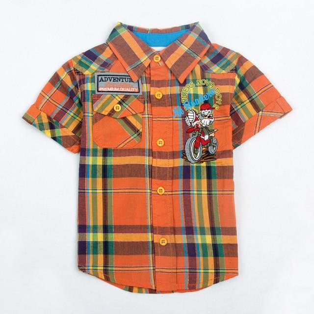 children boy clothes 2016 short sleeve summer cartoon plaid boy t-shirt 2016 nova kids baby boy clothing high top clothing wear