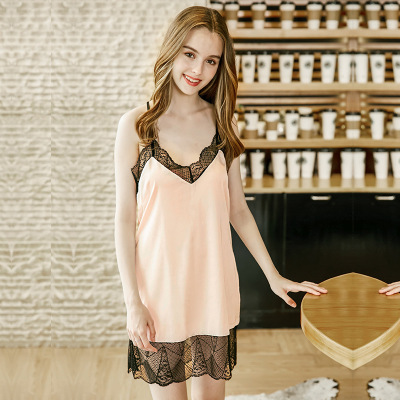 Women Strappy Sleepwear Lace V-Neck   Nightgown   Trim Chemise   Nightgown   Slip Lingerie Dress Summmer Sexy Female   Sleepshirt   Home