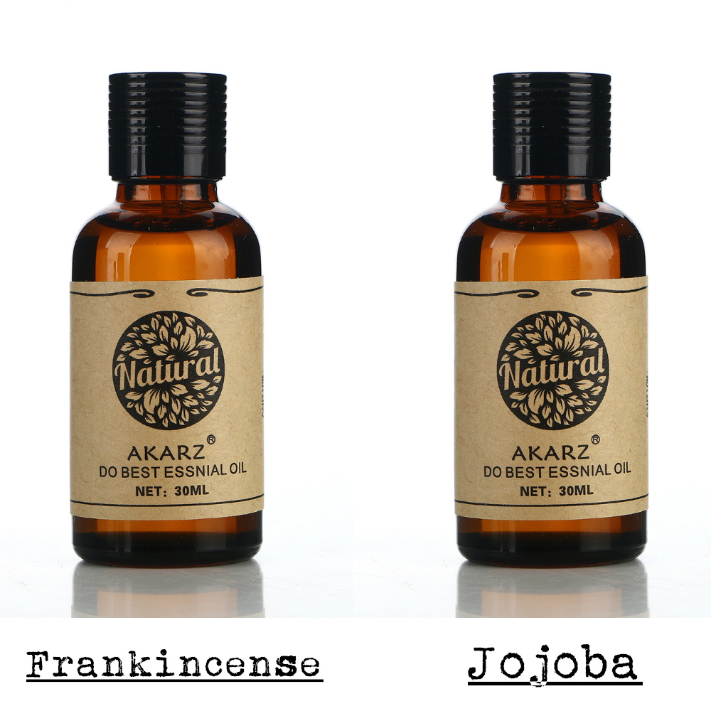 AKARZ Famous brand Anti ageing sets pure Frankincense essential oil+Jojoba oil Repair wrinkles and scars body Massage Oil 30ml*2 happy ageing