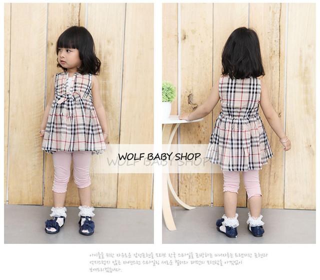 Retail niños bebé ropa niñas ropa de cuadrícula dress infantil de la ropa 2014 nuevo envío libre