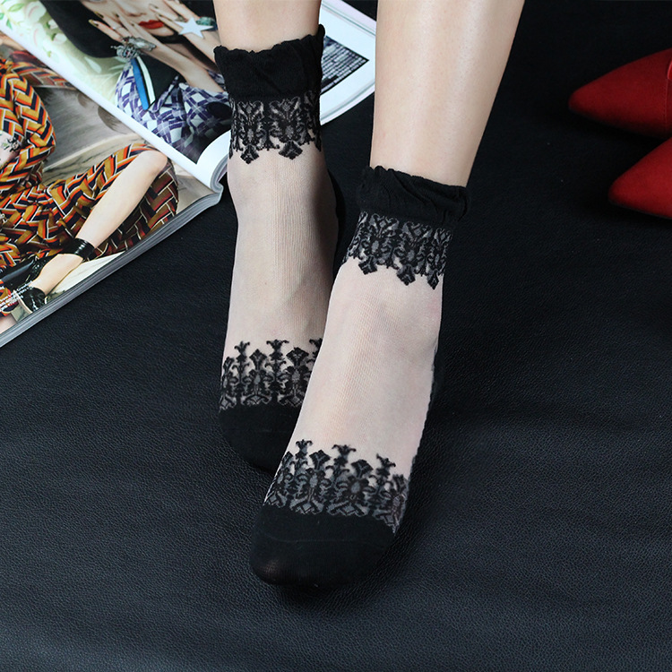 Sexy Lace Mesh Fishnet Socks Mixed Fiber Transparent Stretch Elasticity Ankle Net Yarn Thin Women Cool Socks 1pair=2pcs Ws42