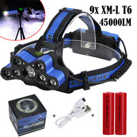 2018 New Super 45000 LM 9X XM L T6 LED USB 2x18650 Battery Rechargeable Headlamp Headlight