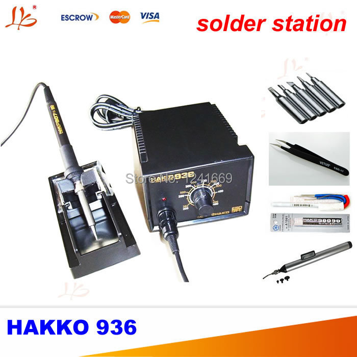 Free ship 220V HAKKO 936 Soldering Station  Digital Solder Iron with A1321 Ceramic Heater+5 free solder tips+IC pick up dhl free shipping hot sale 220v hakko fx 888 fx888 888 solder soldering iron station with 10 free tips 900m t