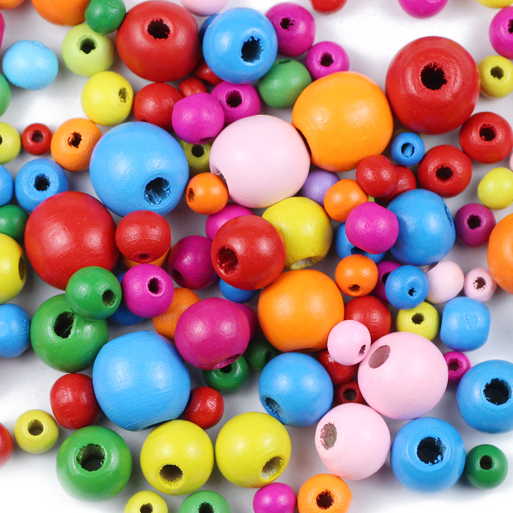 100//500pcs Mixed Colour Round Shape Wooden Beads Eco-friendly 10mm