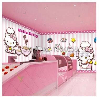 Free Shipping Custom Modern 3D Large Murals Of TV Setting Wall Bedroom KTV  Tong Real Cartoon Wallpaper HELLOKITTY Cat