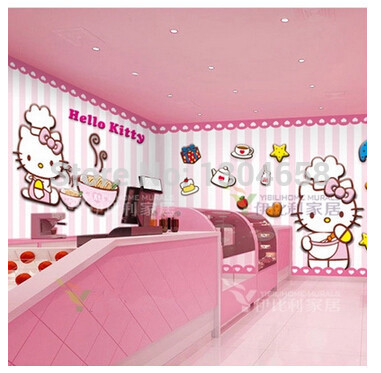Free shipping custom modern 3D large murals of TV setting wall bedroom KTV Tong real cartoon wallpaper HELLOKITTY cat custom large murals cartoon animals of bedroom the head of a bed children room background wallpaper jungle general mobilization