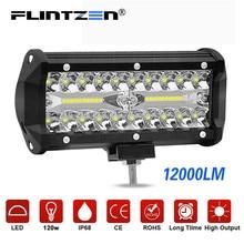 Flintzen 7 дюймов 120 Вт 40 шт. светодиодный рабочий светильник с чипом, комбинированный луч, светильник для вождения автомобиля s для внедорожника, грузовика, рампа мотоцикла, лампа DC9-30V