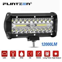 Flintzen 7inch 120w 40pcs LED chip work light bar combo beam car Driving lights for Offroad truck motorcycle ramp lamp DC9 30V