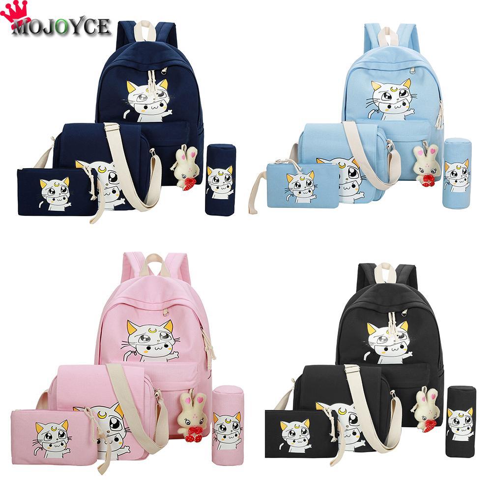 4Pcs/set New Lovely Moon Cat Print Backpack For Teenager Women Female Shoulder Schoolbag Unisex Rucksack Girl Mochila Feminina all over cat print pajama set