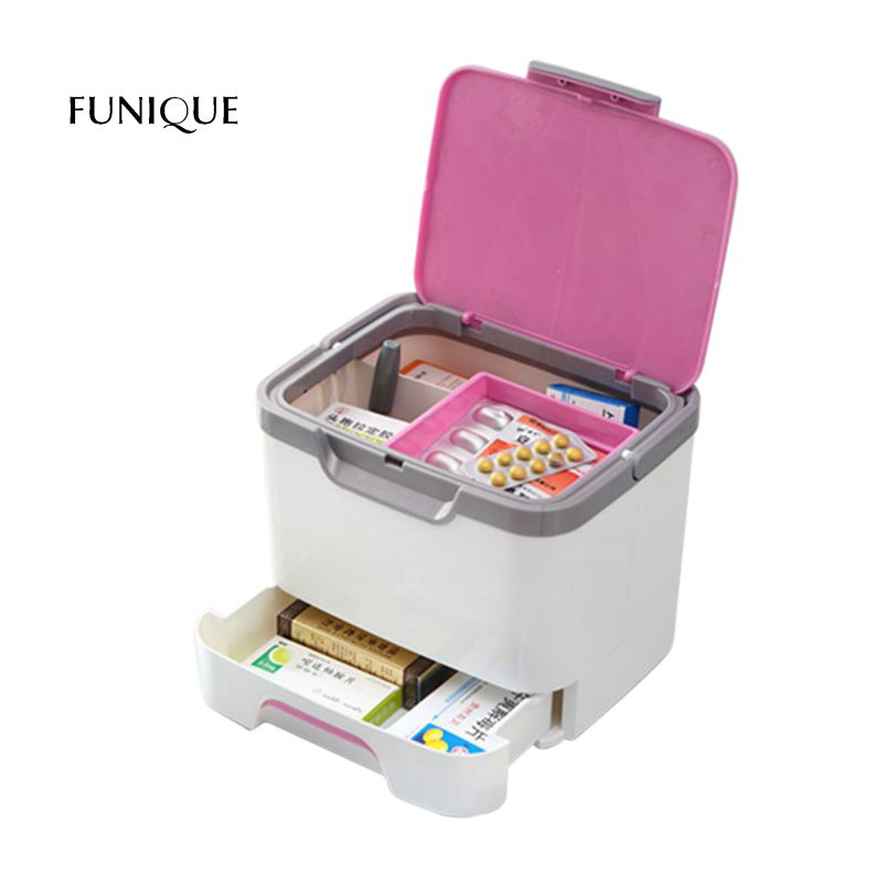 FUNIQUE Cosmetic Jewelry Organizer Office Storage Drawer Medicine Box Desk Makeup Case Storage Box Medicine Chest Household