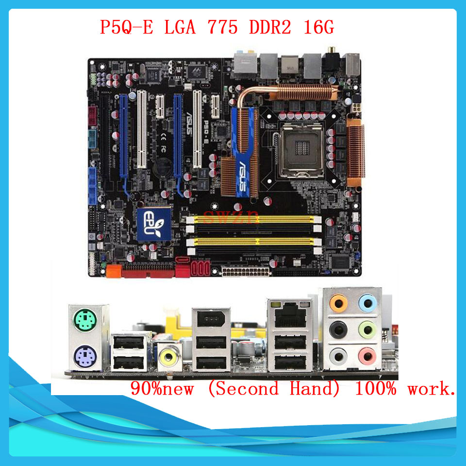 original Used Desktop motherboard For ASUS P5Q-E P45 Support Socket LGA 775 Maximum DDR2 16GB SATA2 USB2.0 ATX asus g31m s support ddr2 775 pin integrated small board g31m g31 motherboard