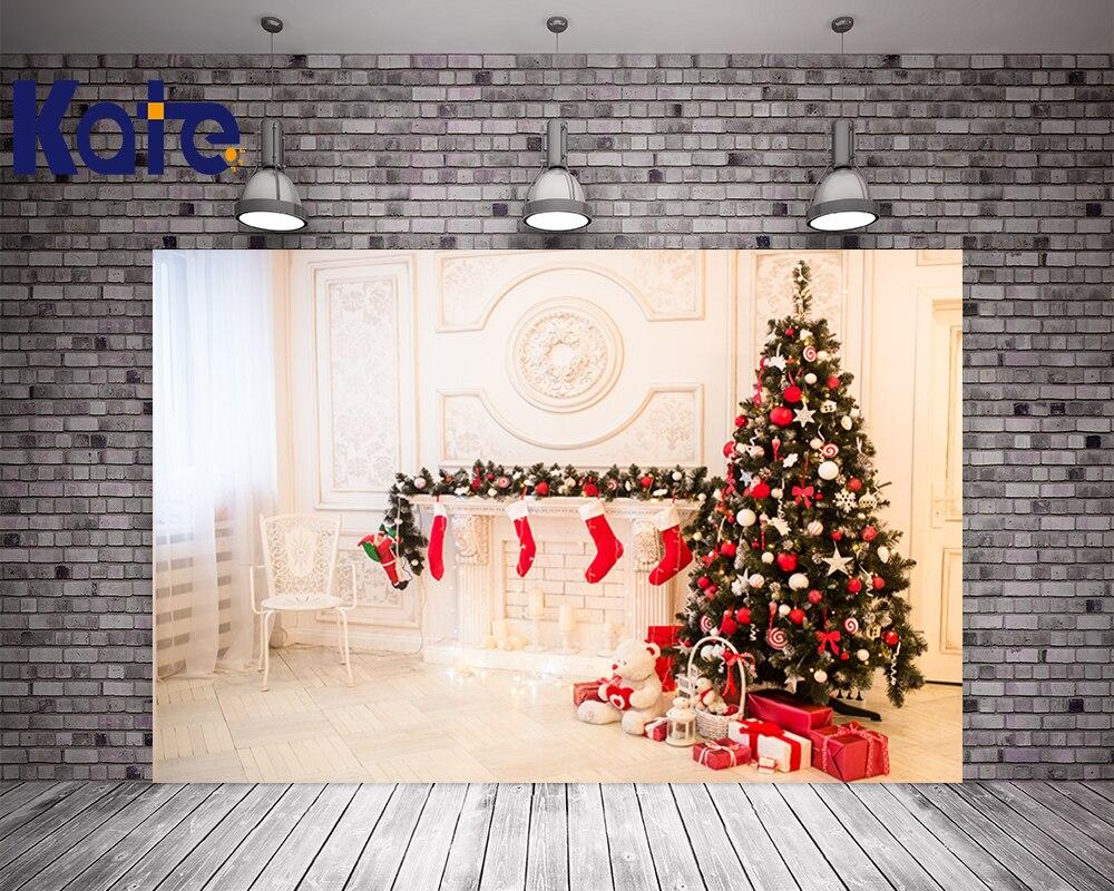 Kate Chaleur Intérieur De Noël Fond Photographie De Noël Bas Blanc Toile de Fond Avec Arbre Pour Famille Photo Studio