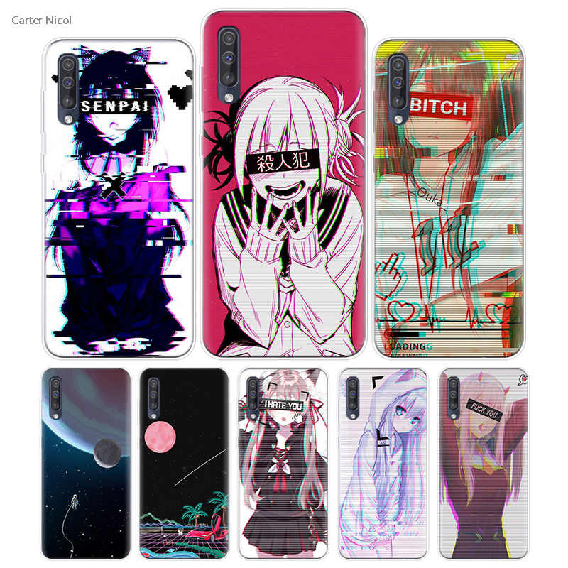 Transpatrent Silicone Case for Samsung Galaxy A50 A70 A30 M30 M20 A10 A20 A40 M20 Cover Phone Vaporwave Space Anime