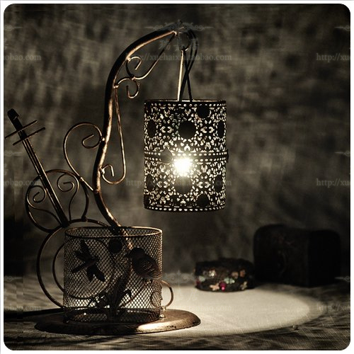Fashion vintage antique bronze rustic belt pen technology lights table lamp decoration lamp home bedside lamp