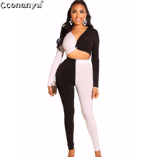 Women Set 2019 Two Piece Set Top and Pants  Long Sleeve Crop Top 2 piece outfits for women Patchwork Sexy Slim High Waist 2019 two piece set women crop top sexy off shoulder slim bodycon nigthclub pencil dress women long sleeve 2 piece outfits