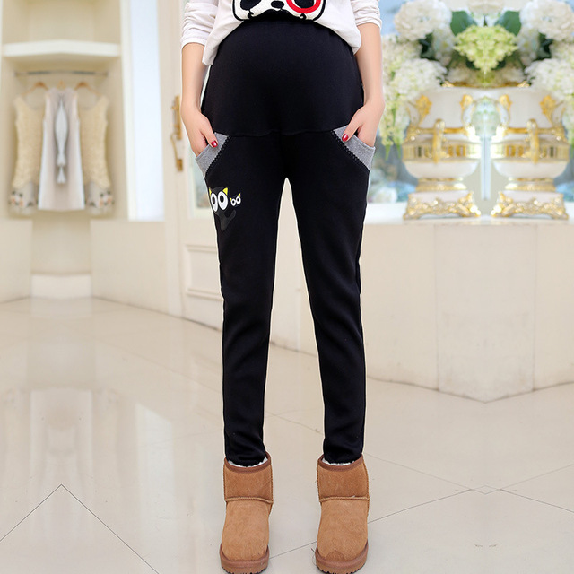 Pregnant women pants cartoon cat pattern plus cashmere pants cotton autumn and winter warm care belly Maternity thick pants