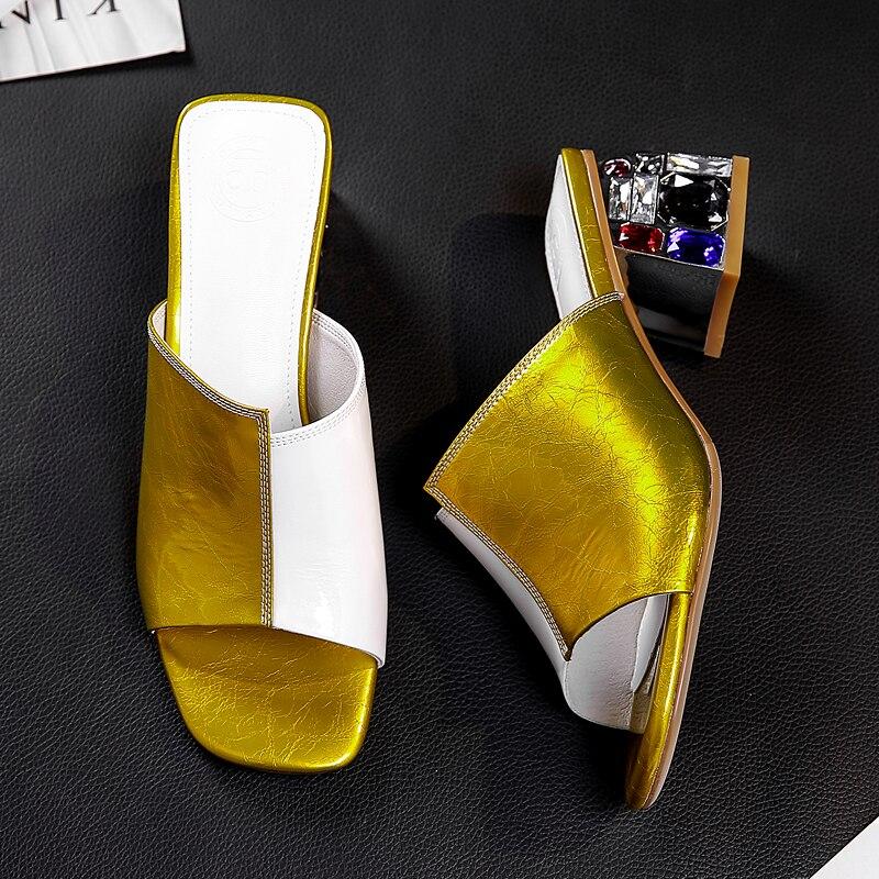 Grande taille 42 femmes en cuir véritable épais talon haut glisse été cristal talon mules bout ouvert sandales haute qualité confort chaussures