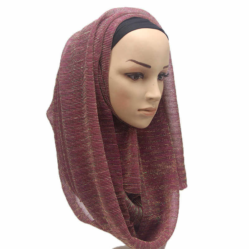 995133b9d452 ... ZFQHJJ Women Plain Gold Thread Wrinkle Hijab Scarf Shiny Glitter Veil Head  Scarf Shawl Pashmina Party ...