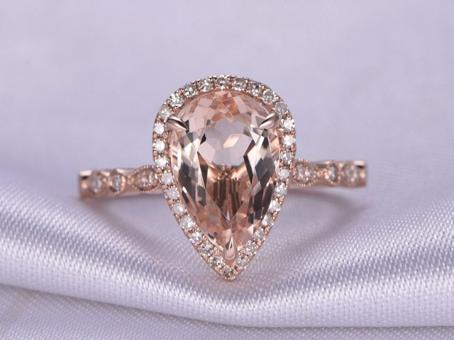Myray 14 Karat Rotgold Pear Cut Naturliche Rosa Morganite Stein