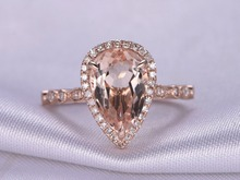 MYRAY 14k Rose Gold Pear Cut Natural Pink Morganite Stone Diamond Engagement Ring Wedding Anniversary Rings Gift Women Vintage