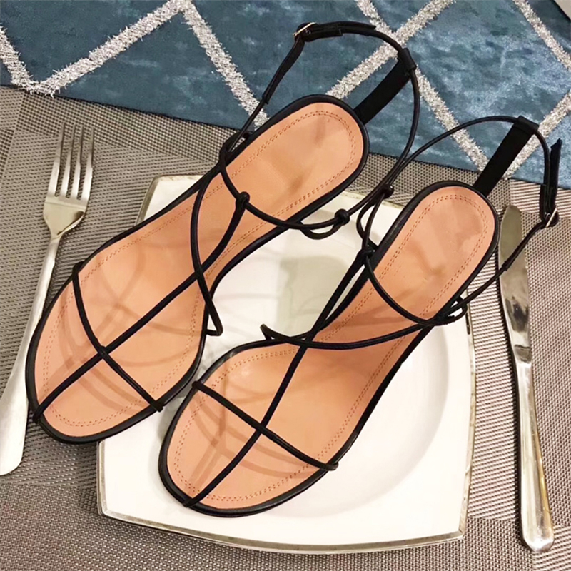 Hanbaidi Fashion Gladiator Sandals Woman Open Toe Narrow Band Cross-tied High Heel Shoes Woman Sexy Hollow Party Wedding Shoes pointed toe flats women 2017 summer shoes gladiator flats cross tied sandals lace up low heel to wear woman close toe